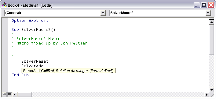 Using Solver in Excel VBA