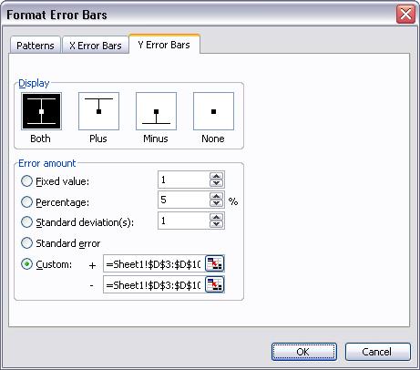 Classic Excel format Y error bar dialog