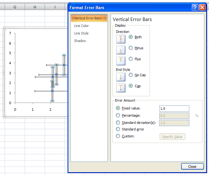 Excel 2007 format vertical error bars