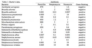 Antibiotic Effectiveness Data Table