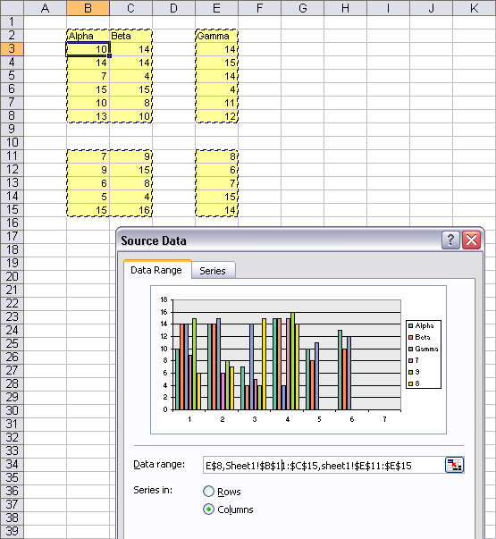 Excel dialogs accept a properly formed discontiguous range