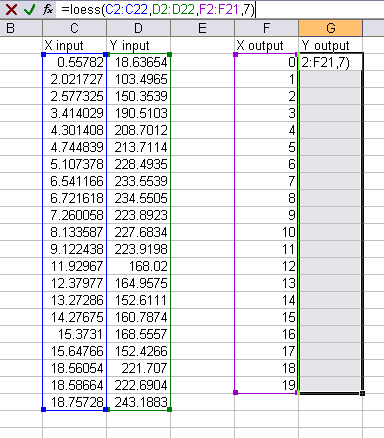 LOESS in Excel Worksheet 1