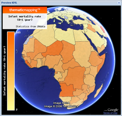 Virtual globes peltier tech blog chloropleth infant mortality in african countries publicscrutiny Choice Image