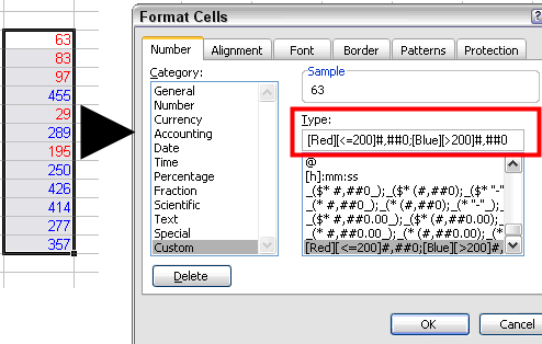 Custom number format to apply colors to cell values based on values