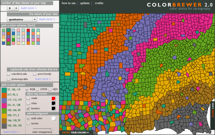Updated ColorBrewer2.0 Display, Basis for Jon's Earlier Palette