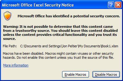 Macro Security Dialog
