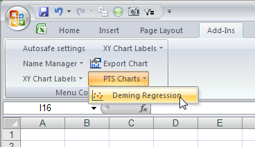 PTS Deming Regression Menu