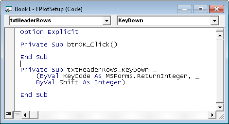Header Rows Textbox KeyDown Event Procedure