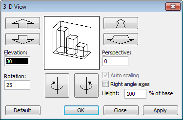 Excel 2003 3D View Dialog