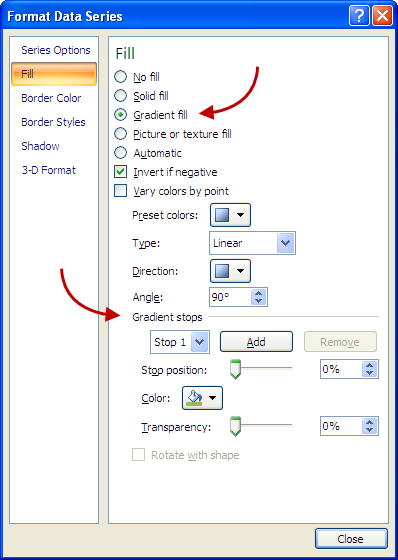 Excel 2007 Dialog Showing Simple Gradient Step 1