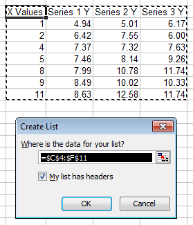 Excel 2003 Create List Dialog