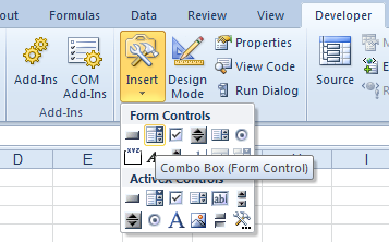 Developer Tab: Forms Combo Box Control