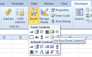 Developer Tab: Forms List Box Control
