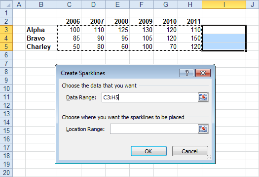 Create Sparklines Dialog with Data Source Selected