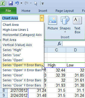 Select Error Bars Using the Chart Element Selector