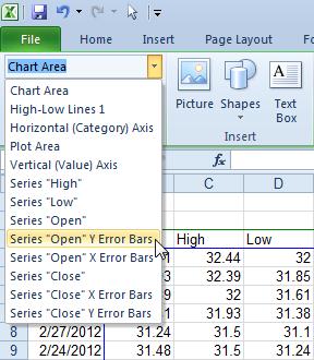 Select Error Bars Using the Chart Element Selector