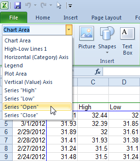 Select a Series Using the Chart Element Selector