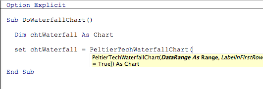 Intellisense for the waterfall chart function