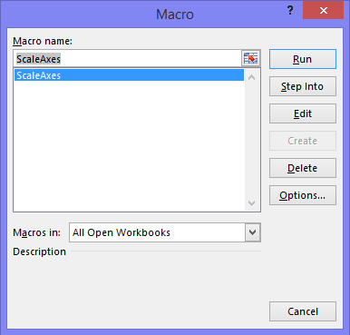 Macros dialog with ScaleAxes procedure