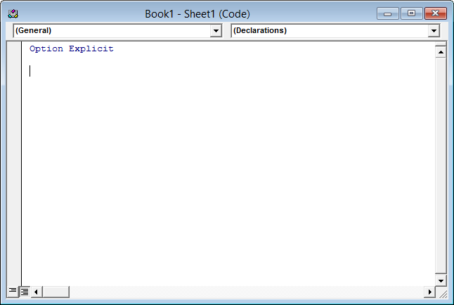 Empty worksheet code module