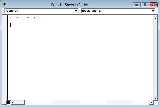 Empty worksheet code module