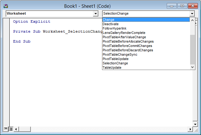Worksheet code module - Events dropdown