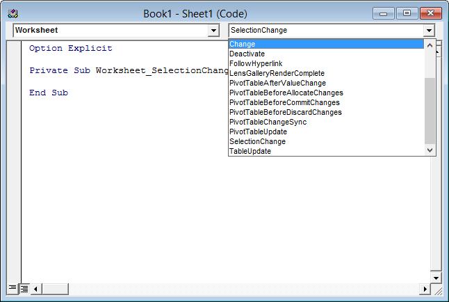 Worksheet code module - Events dropdown