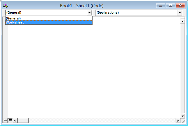 Worksheet code module - Objects dropdown