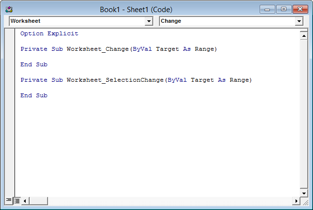 Worksheet code module with event procedure stubs