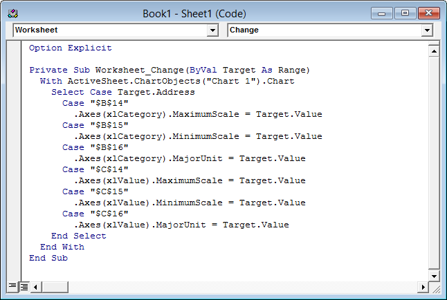 Worksheet code module with Worksheet_Change event procedure