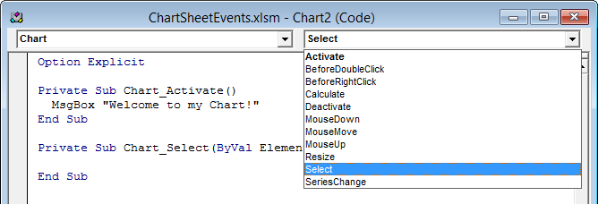 Chart Code Module with Event Procedure Stub