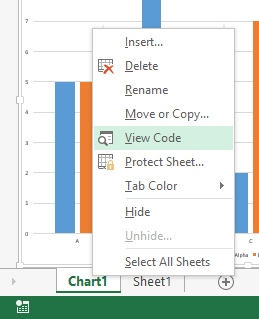 Chart Sheet Tab Context Menu