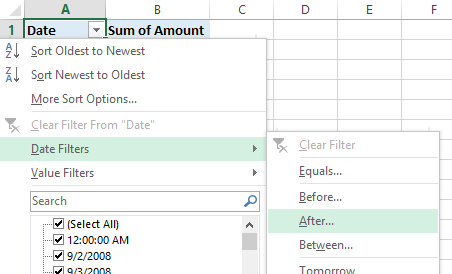 Grouping by Date in a Pivot Table - Peltier Tech Blog