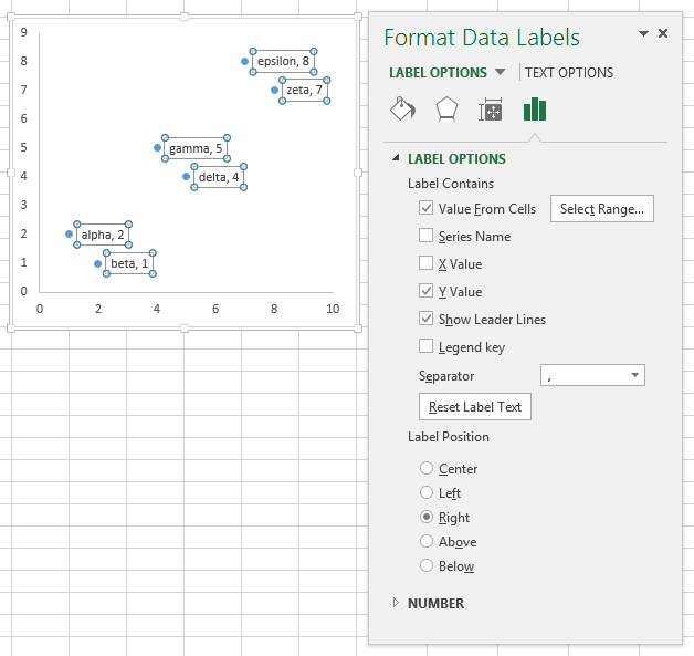 Format Data Labels Task Pane