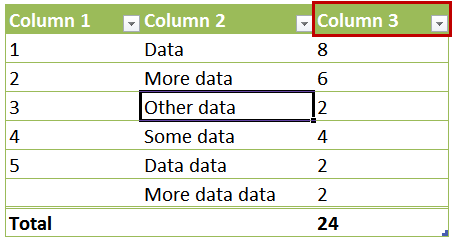 Referencing Header Row for One Column
