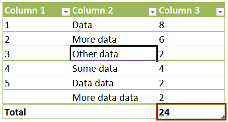 Referencing Total Row for One Column
