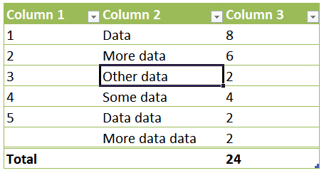 Structured Referencing to Identify Parts of Excel Tables