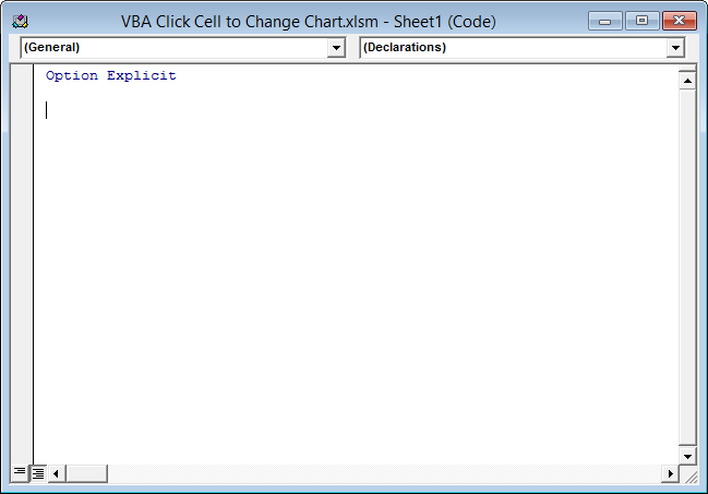 Click A Worksheet Cell To Change Chart Peltier Tech Blog. Click The Left Hand Dropdown At Top Of Module And Select Worksheet. Worksheet. Worksheet Before Selection Change At Clickcart.co