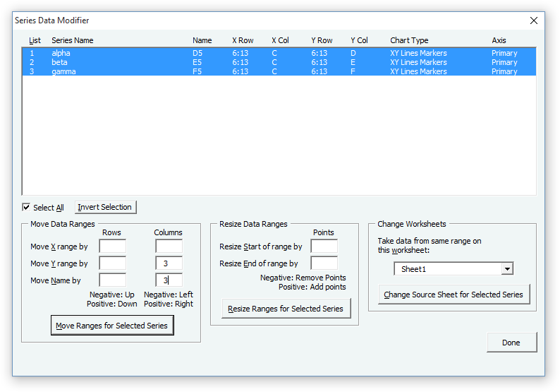 Modify Chart Series Data Dialog