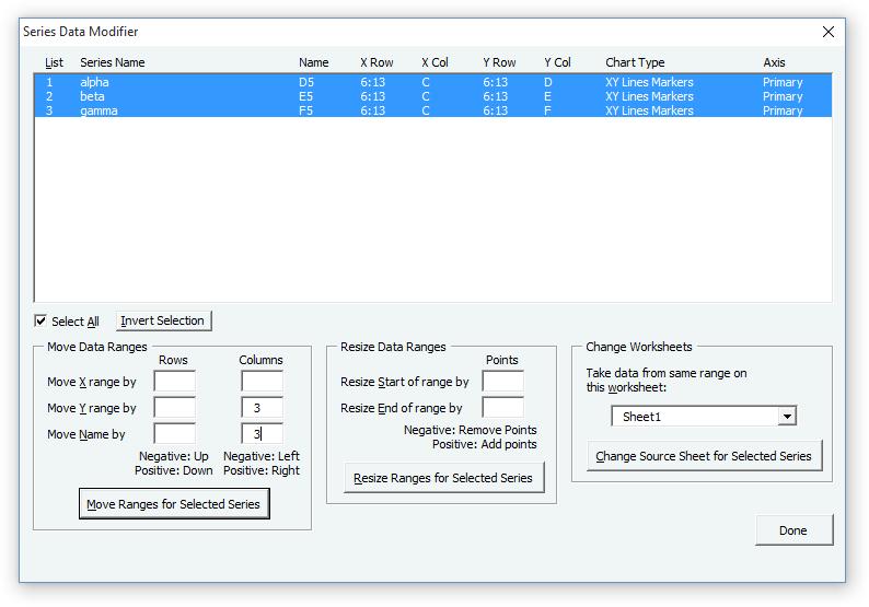 Modify Chart Series Data Dialog
