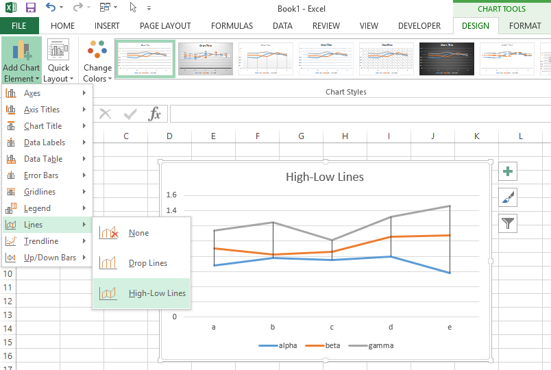 High-Low Lines button on the Excel 2013 Ribbon