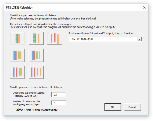 LOESS dialog for simple case