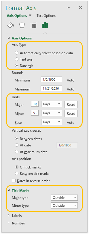 Format Axis Task Pane for Horizontal Axis