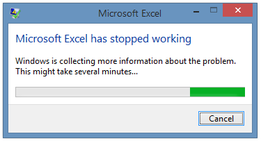 Microsoft Excel has stopped working