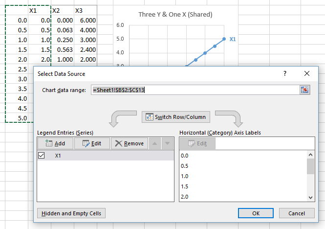 Select Data Dialog for One Data Block - XY Scatter Chart