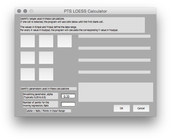 Initial LOESS Dialog in Mac Excel 2011