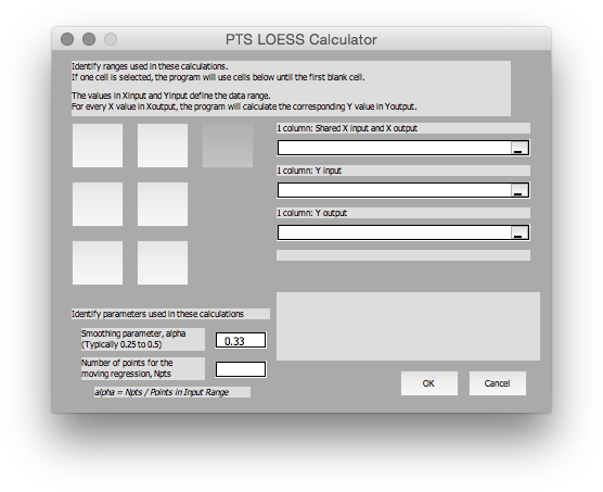 LOESS Dialog in Mac Excel 2011 with third button activated