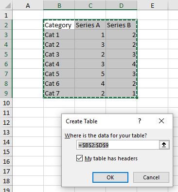 Create Table Dialog