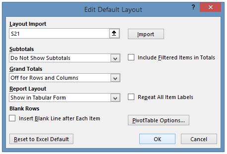 Edit Default Layout Dialog