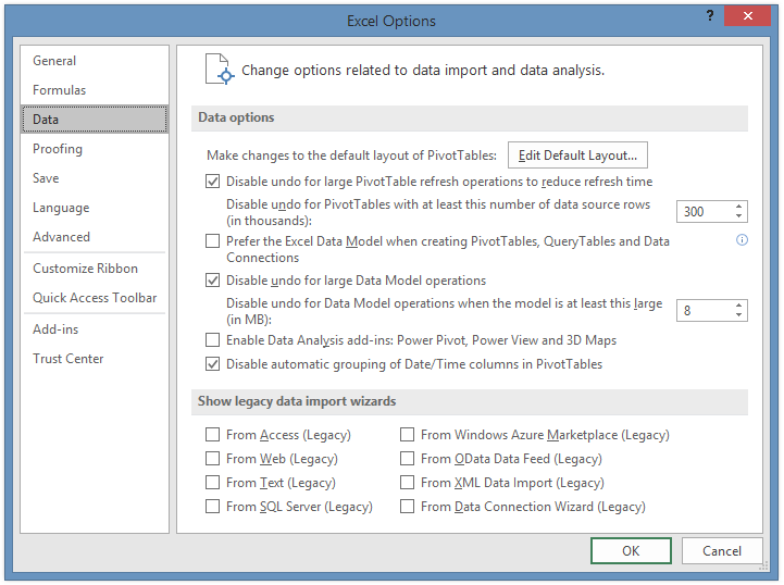 Data Tab of Excel Options Dialog